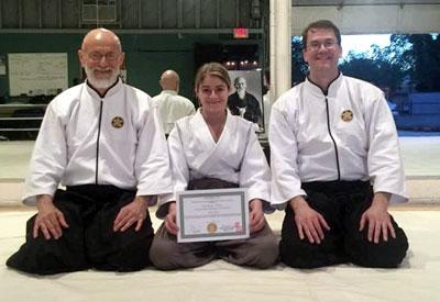Student receiving Aikido rank advancement