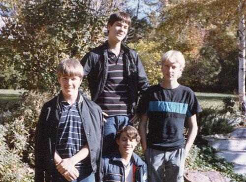 Teenage boys standing outside