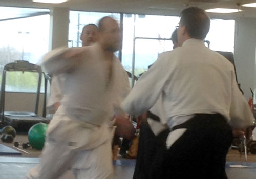 Man Attacking in Aikido Randori Exercise